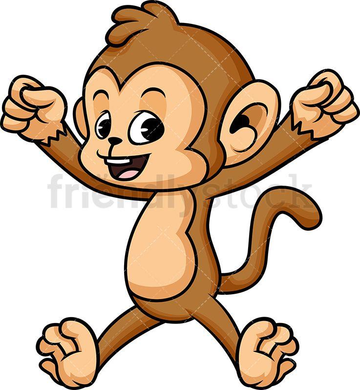 Happy Monkey Jumping Cartoon Vector Clipart Friendlystock Cartoon Clip Art Cartoons Vector Monkey Drawing