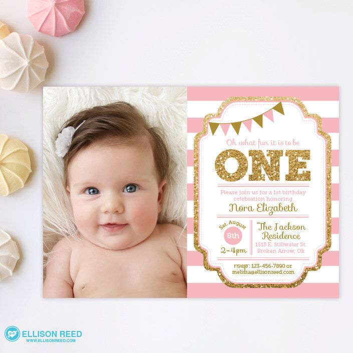 Pink and Gold invitation, 1st Birthday Invitation, Girl Birthday ...