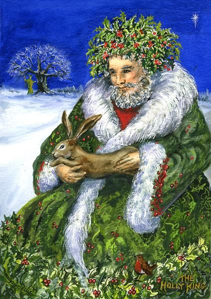 The Holly King. wiccan green santa christmas rabbit green man snow. bird robin rabbit has a meaning