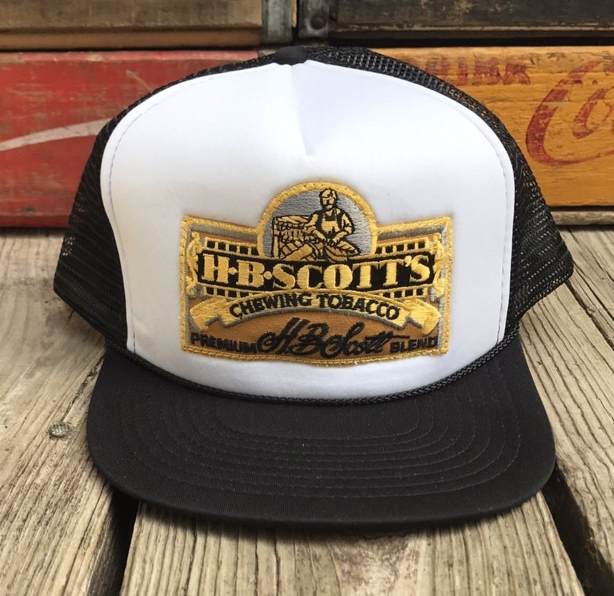 Vintage H.B. SCOTT S Chewing Tobacco Patch 80s Black Mesh Snapback Trucker  Hat  4bc38dfee8ca