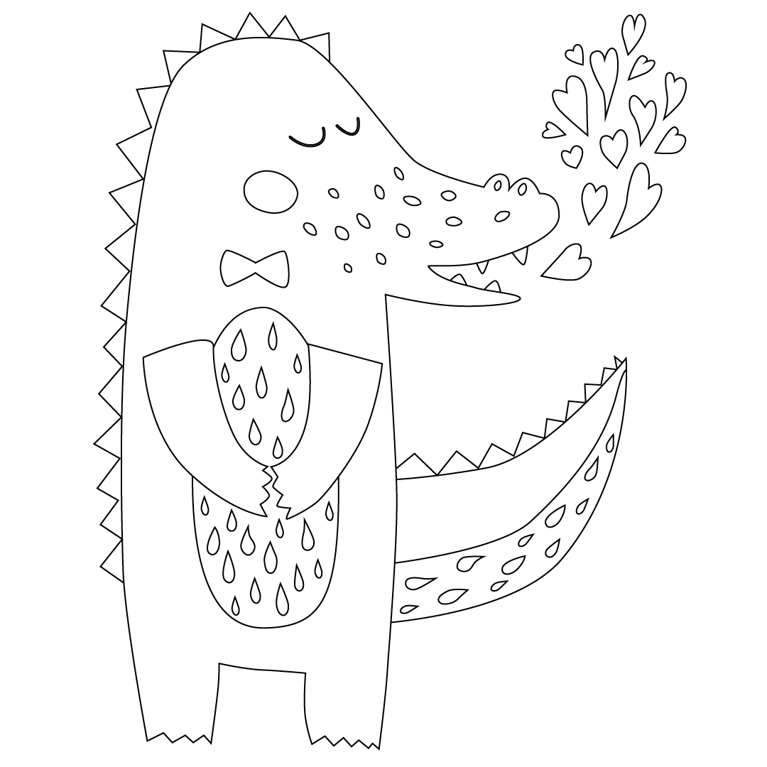 Sweet Crocodile Coloring Page | Free Adult Coloring Pages ...