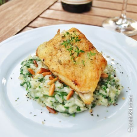 Photo of Recipe for juicy pikeperch fillet on spinach risotto