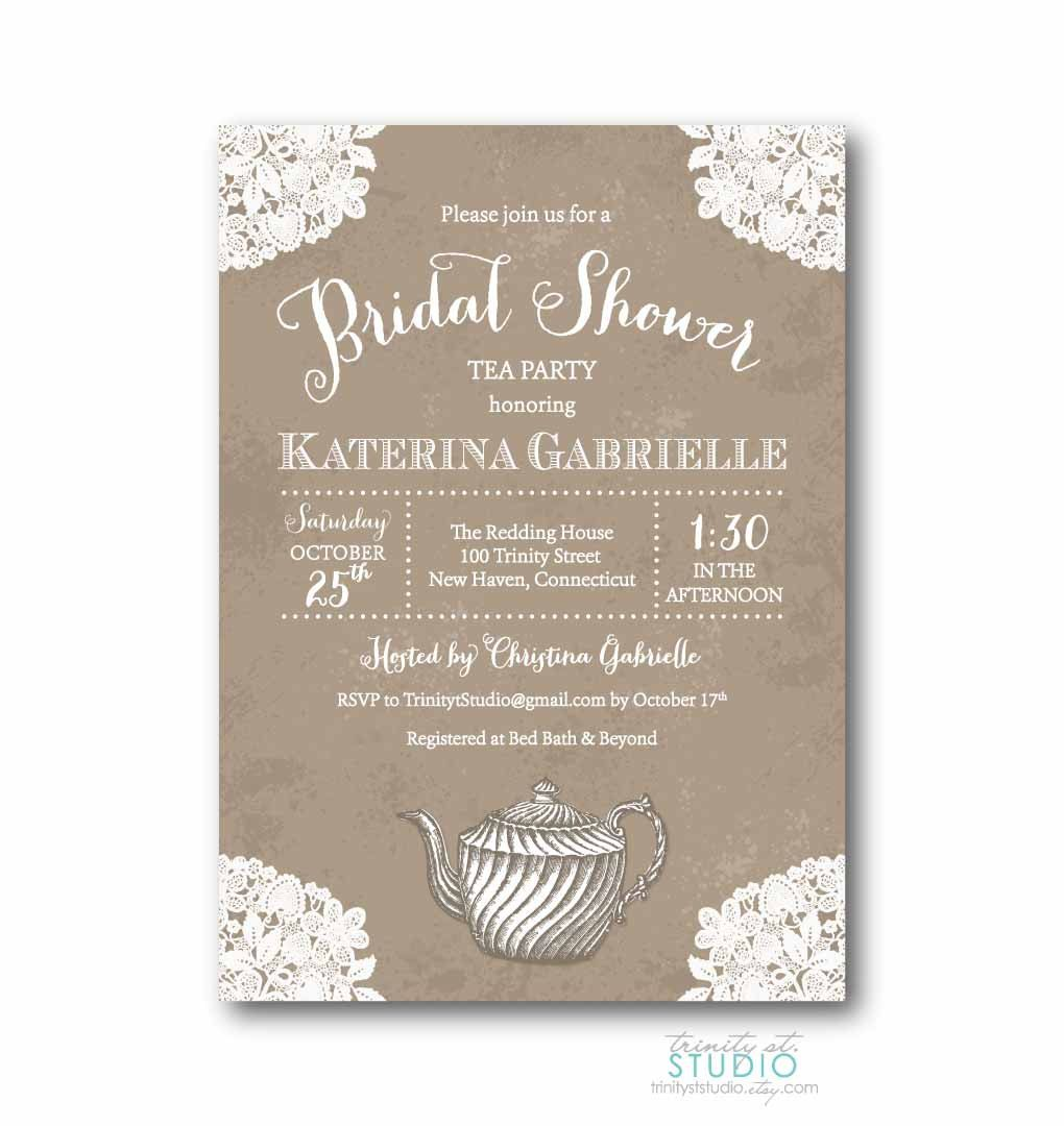 Vintage Lace Tea Party Bridal Shower Invitation Shabby Chic