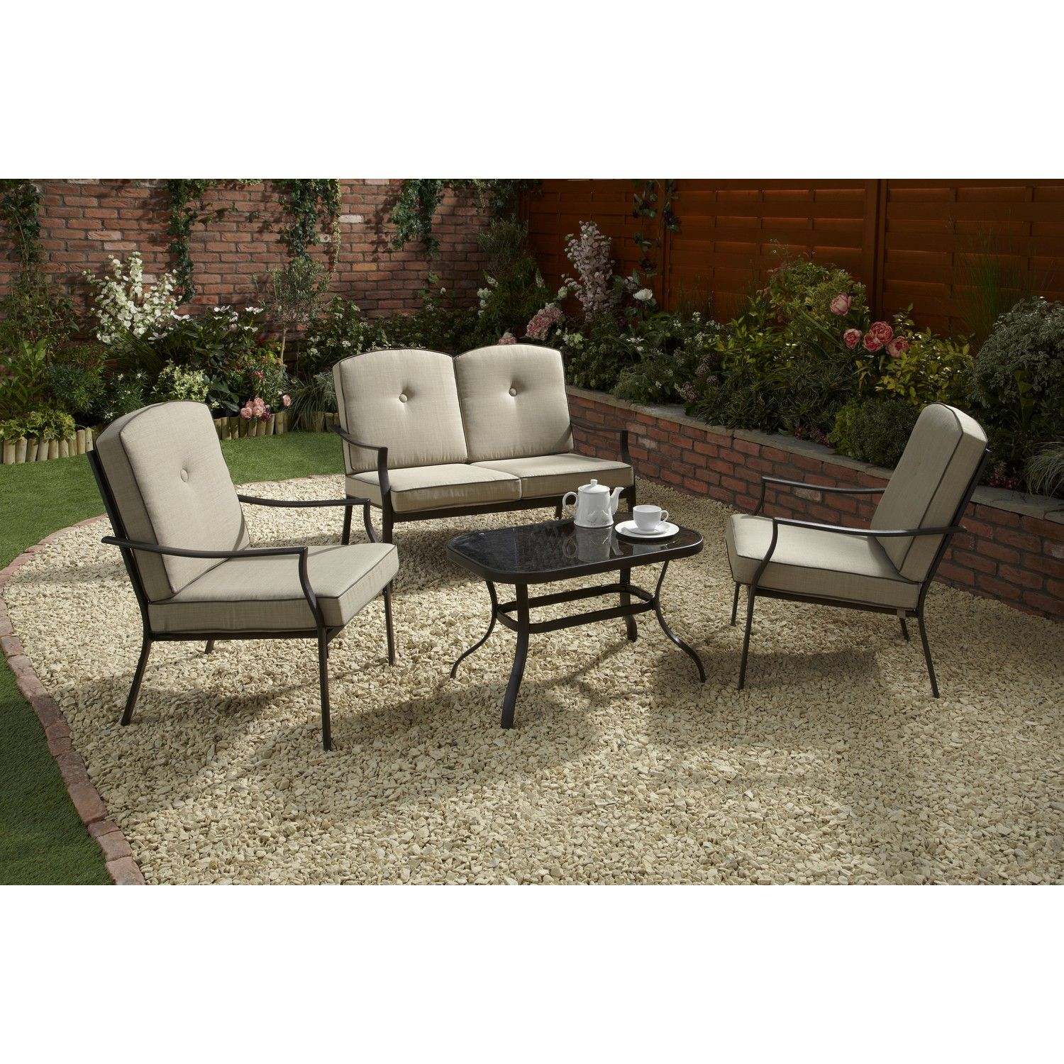 Two Seater Patio Set Part - 23: ... Alfresco Dining Companion For Any Garden Or Patio. Featuring A Stylish  Beige And Black Design, This Wonderful Set Includes 2 Single Chairs, 1 Two  Seater ...