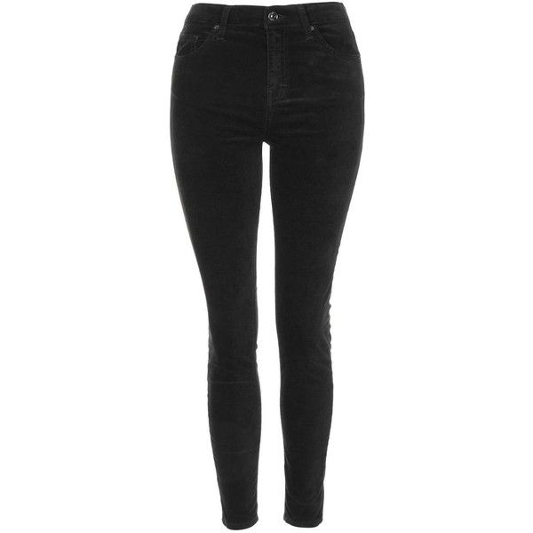 TOPSHOP PETITE Velvet Jamie Jeans (£42) ❤ liked on Polyvore featuring jeans, black, petite, stretch jeans, skinny ankle jeans, petite skinny jeans, stretch skinny jeans and high waisted black skinny jeans