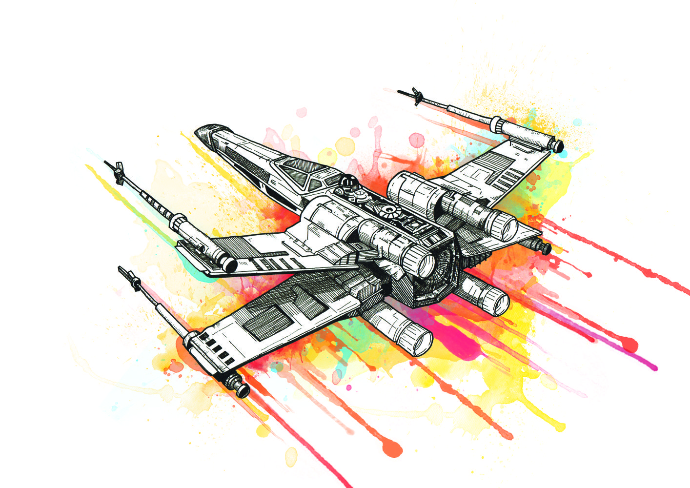 Star wars x wing spacecraft watercolour pen and ink illustration