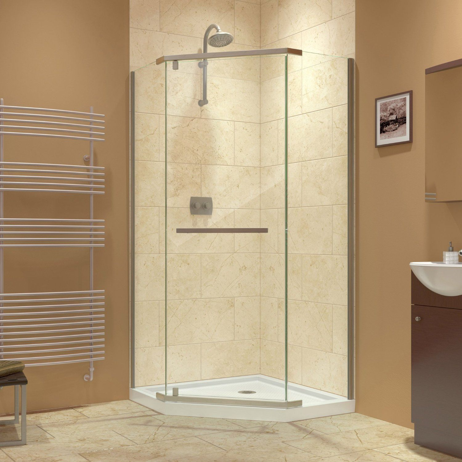 The Prism Neo Angle Shower Enclosure From Dreamline Uses A Desirable Corner Installation To Open