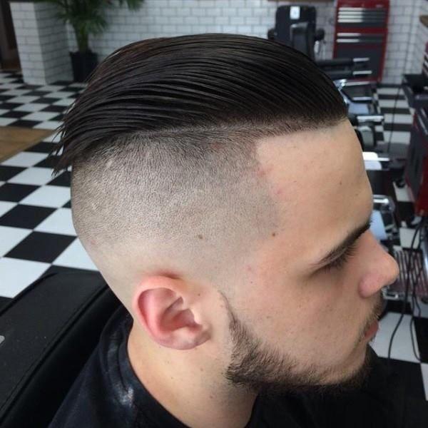 Slicked Back Fade Haircut Barbershop Photograph