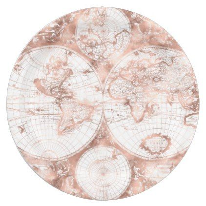 Rose gold pink metal glitter antique world map paper plate glitter rose gold pink metal glitter antique world map paper plate glitter gifts personalize gift ideas gumiabroncs Image collections