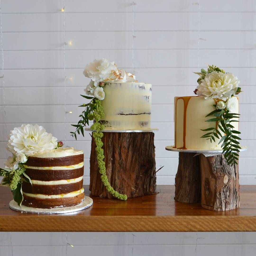 Gorgeous Trio Of Cakes Displayed On Logs! Combining Rustic