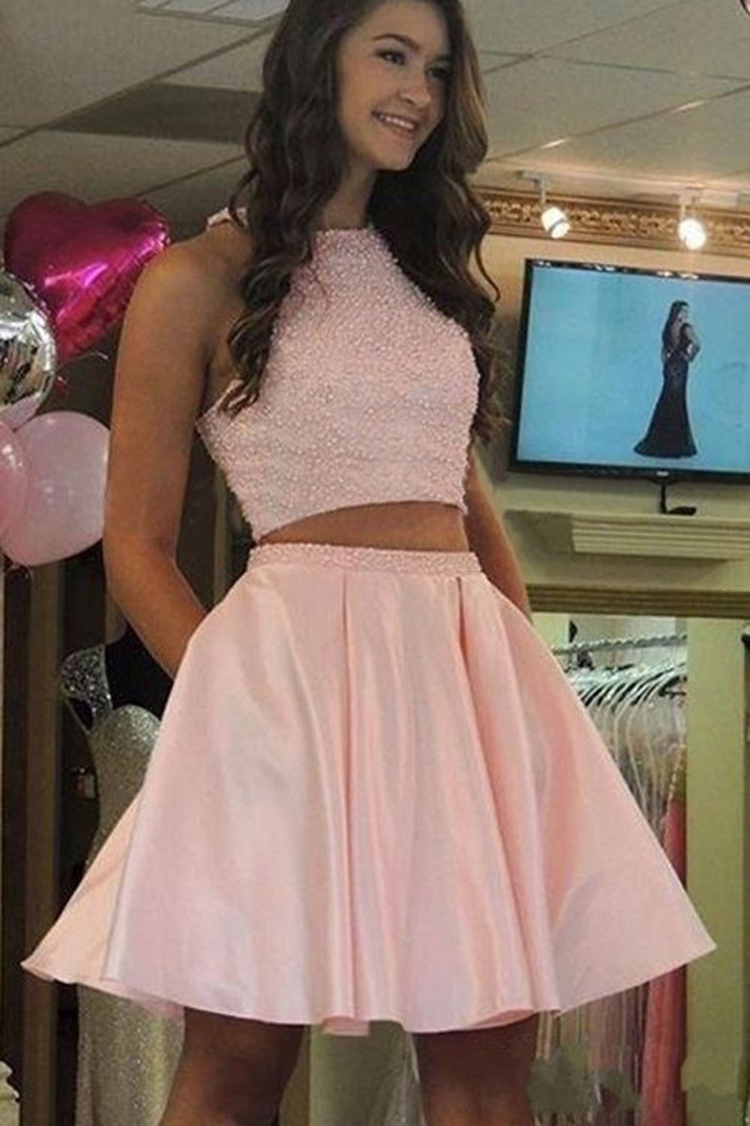 Cute strapless short lace homecoming dress, short party dresses from ...