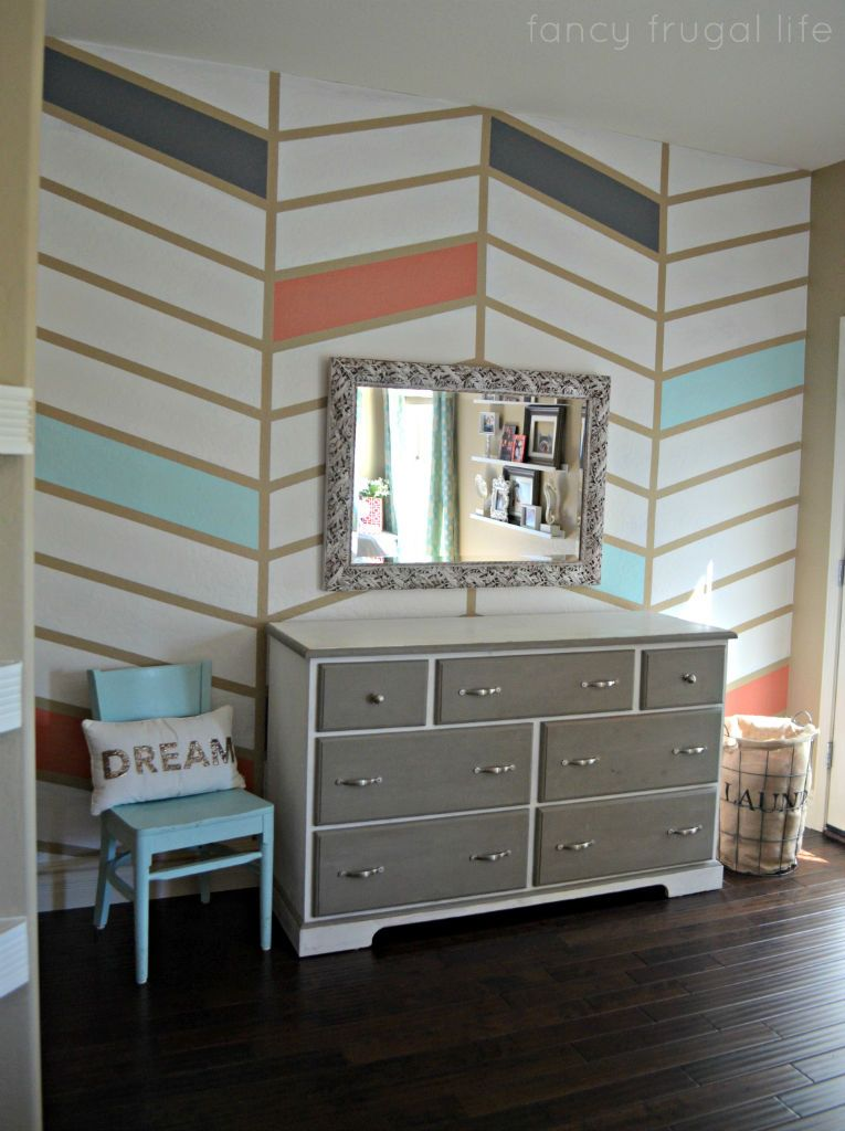 Herringbone Pattern Accent Wall With Tape In Coral Blue