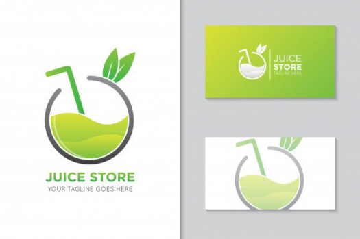 Apple Juice Logo And Business Card Template Premium Vector Juice Juice Logo Juice Logo Business Card Template Card Template