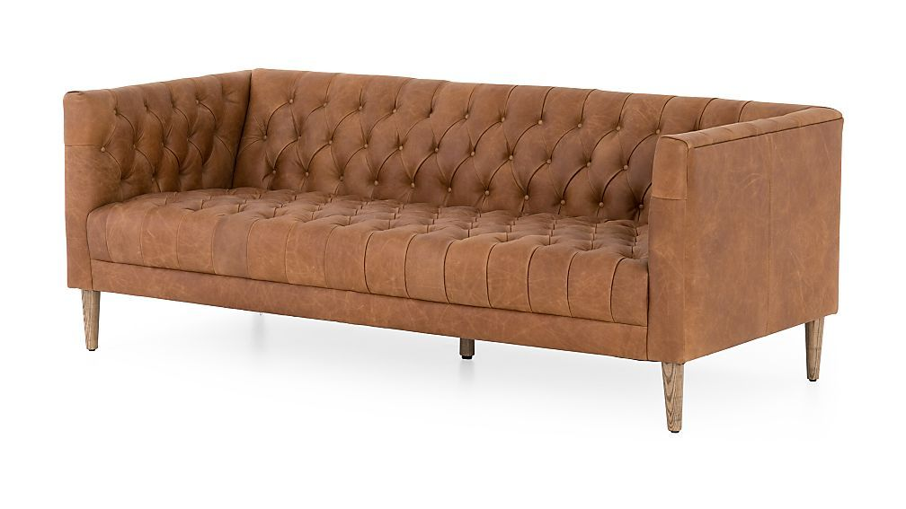 Rollins Leather Button Tufted Sofa Modern Leather Chesterfield Sofa Button Tufted Sofa Tufted Leather Sofa