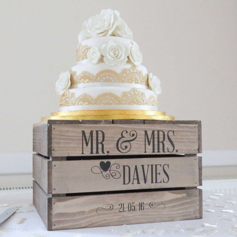 Personalised Rustic Wedding Cake Stand, Vintage Wedding Wooden Apple ...