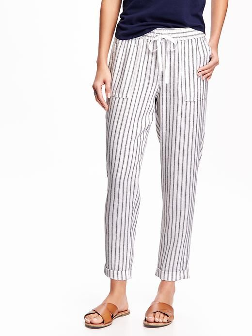 5960eab2eb3ca5 Mid-Rise Linen Crop Pants for Women - Old Navy | Old Navy in 2019 ...