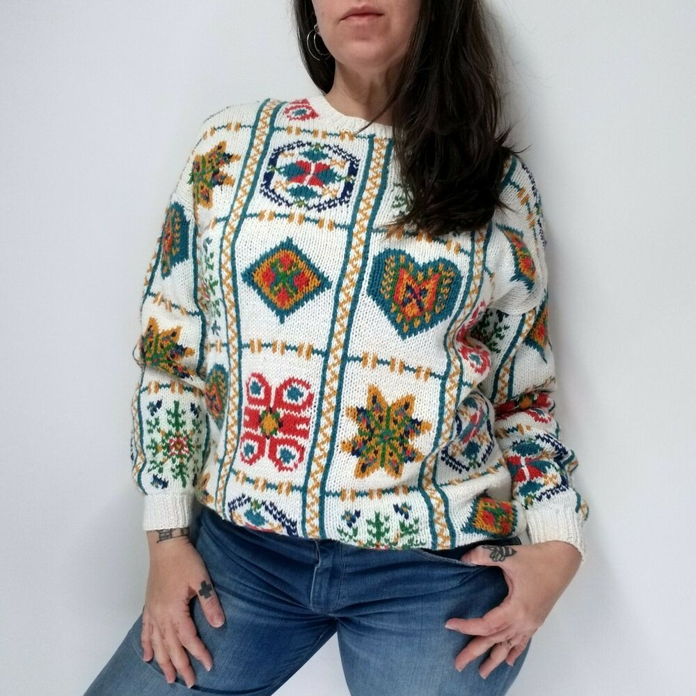 72cdee6505 vtg 90s CLAUDIA D Quilt Pattern Cotton Ramie Sweater Womens Oversized S  (fits M
