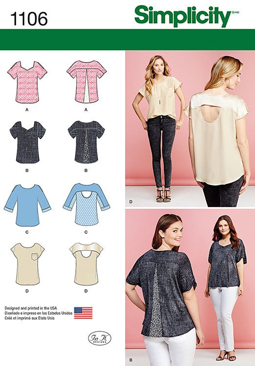 Misses Tops with Fabric Variations Simplicity Pattern No. 1106. Size ...