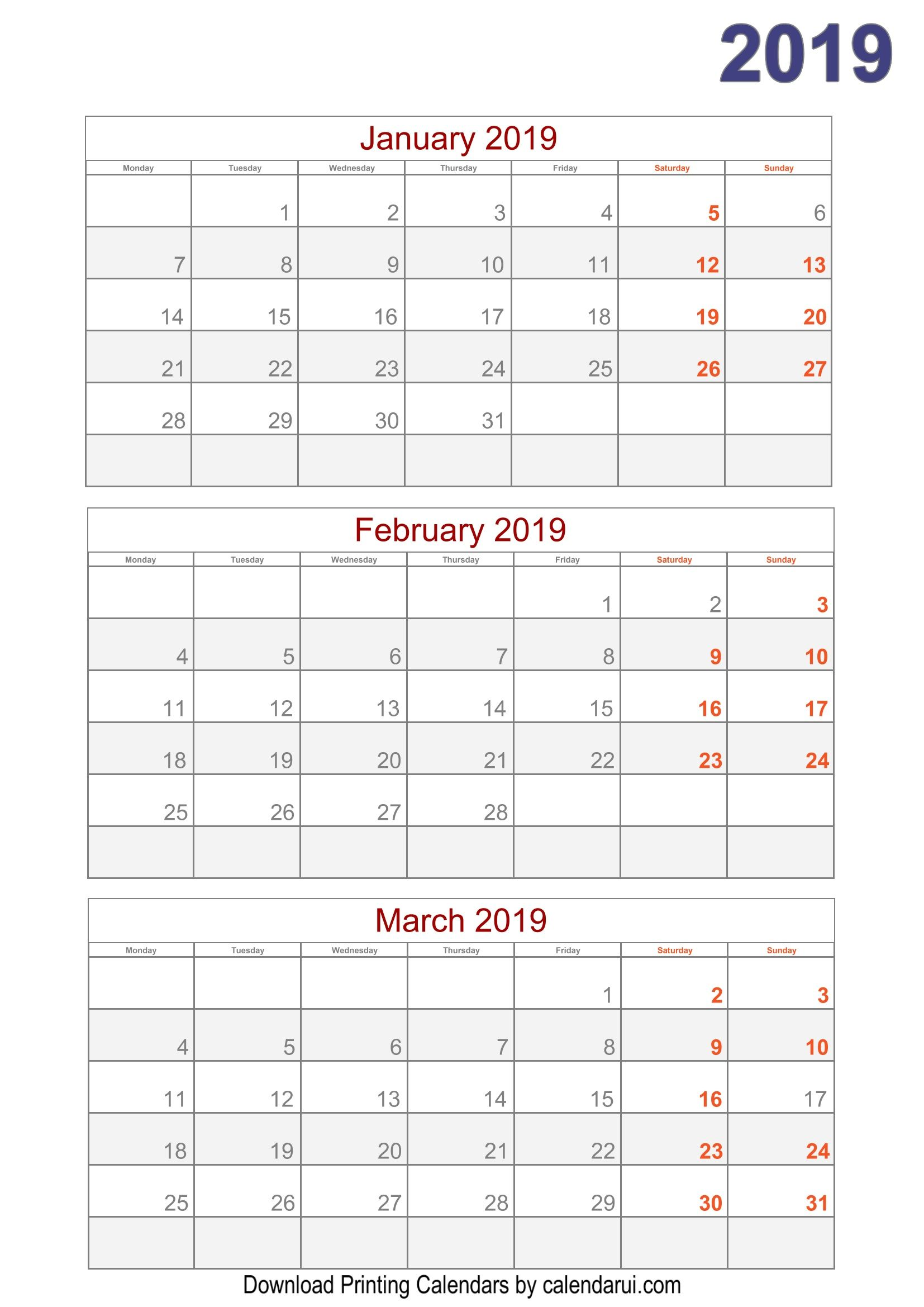 Quarterly Calendar Template 2019 2019 Quarterly Calendar Printable For Free | 2019 calendar