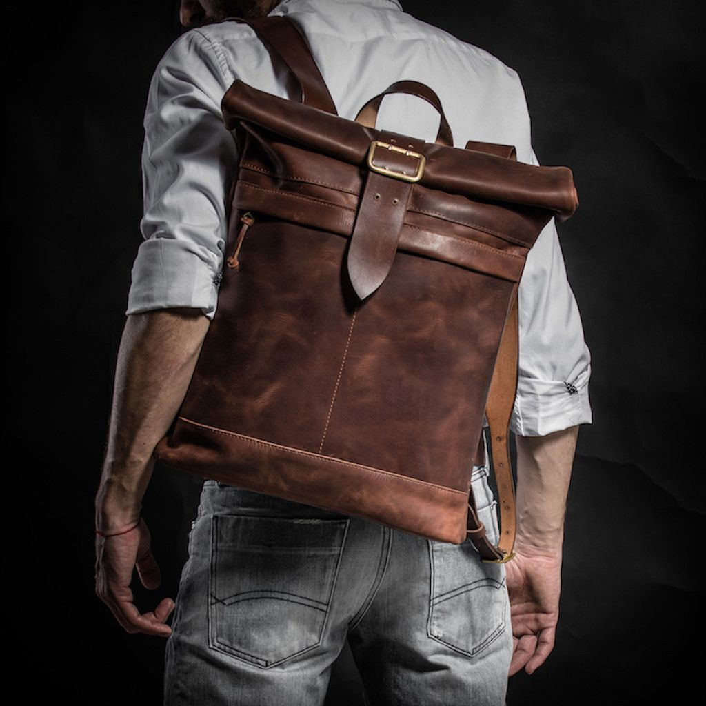 Men S Vintage Genuine Leather  Backpack Rucksack Messenger  Roll top Bag