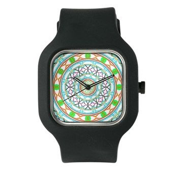 Colorful Clock In Light Blue And Orange Watch