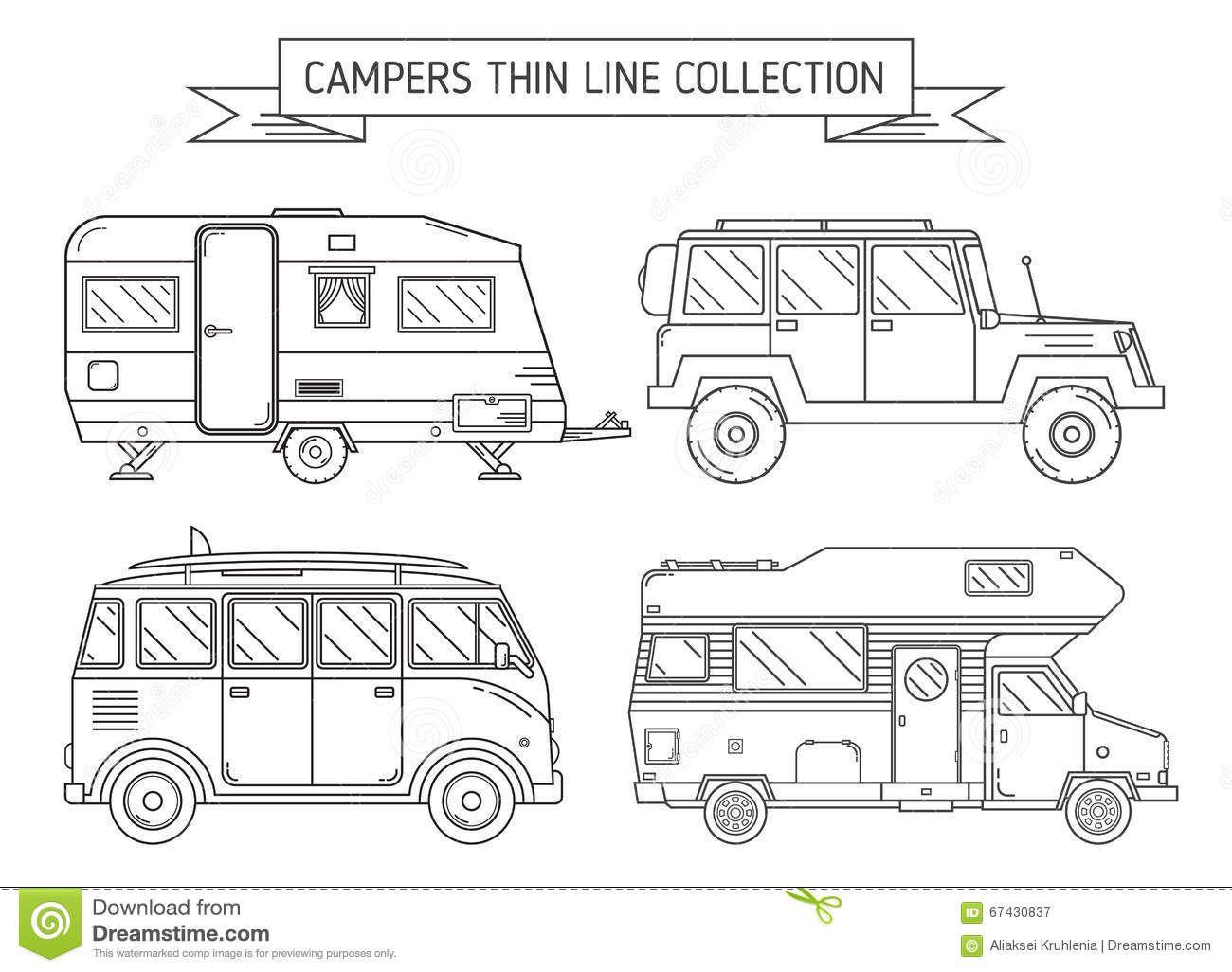 Rv Campers Trailer Thin Line Art Travel Concept Set Camping Family Caravan Icon Collection Traveler Trucks Black White 6743083 Camper Drawing Camper Camper Art