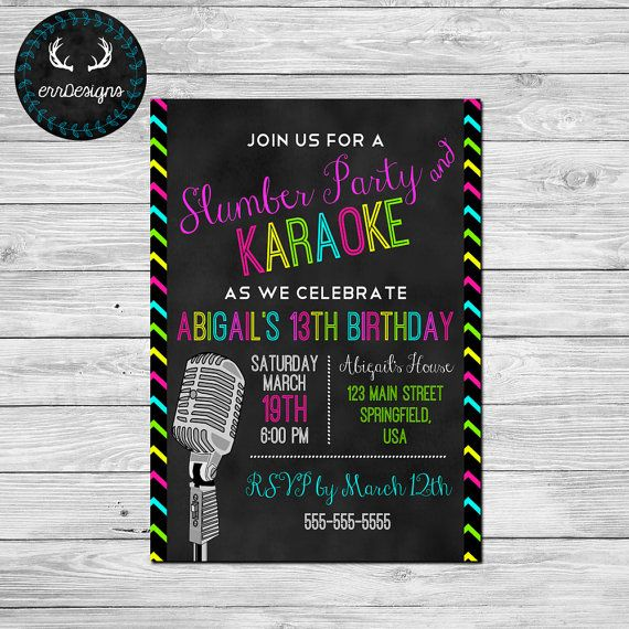 Karaoke Party Invitation Karaoke Birthday Party Invite Karaoke Party Karaoke Party Invitations