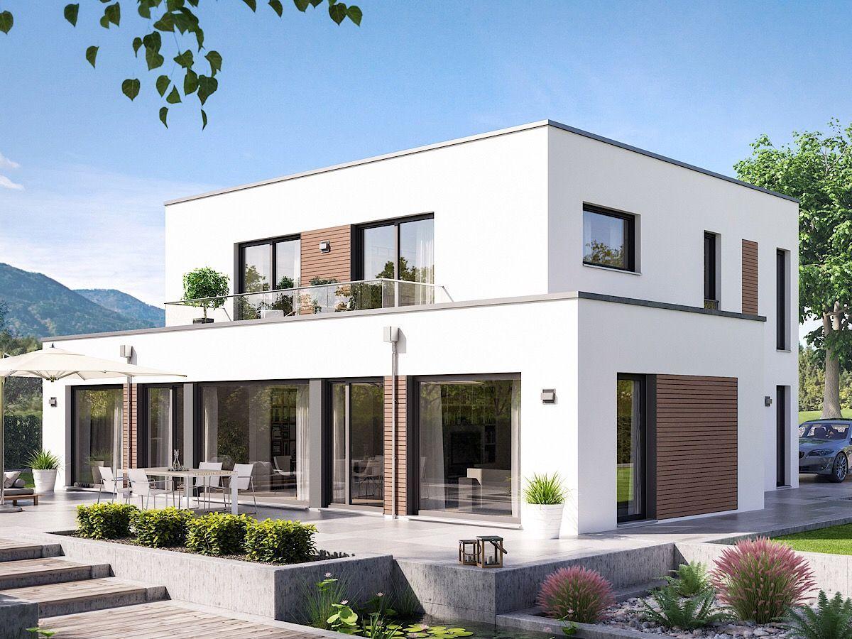 Modernes Einfamilienhaus Im Bauhausstil Mit Flachdach Erker Balkon 5 Zimmer Grundriss 165 Qm Haus Design Stadt Bauhausstil Bauhausstil Haus Villa Design