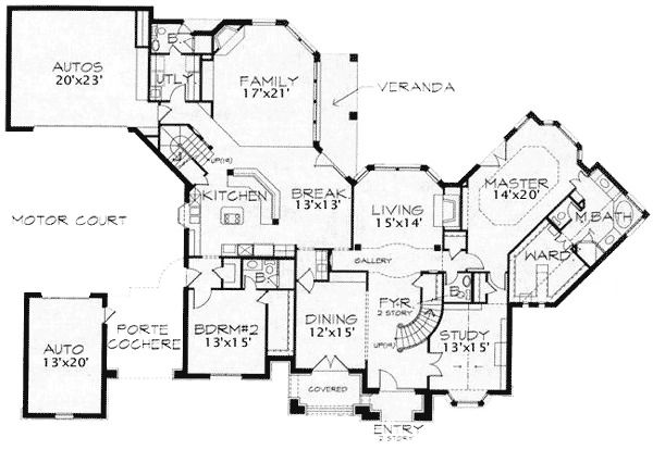 Five Bedrooms and a Motor Court - 15407HN   1st Floor Master Suite, Butler Walk-in Pantry, Den-Office-Library-Study, European, French Country, In-Law Suite, Luxury, Media-Game-Home Theater, Multi Stairs to 2nd Floor, PDF, Traditional   Architectural Designs