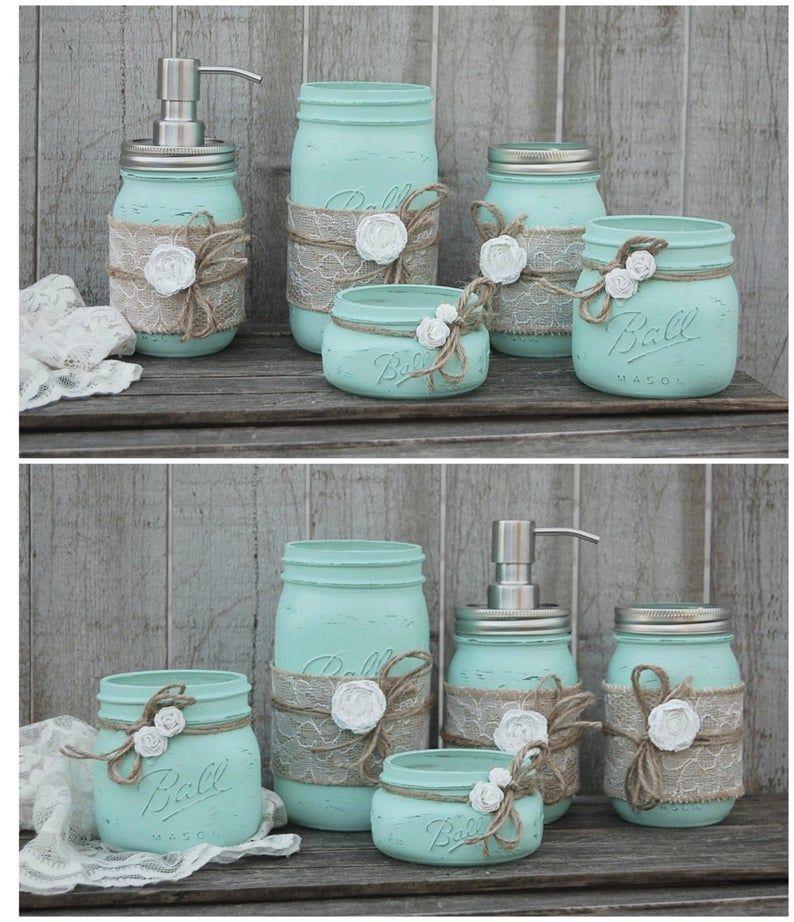 Mason Jar Bathroom Set Mint Green
