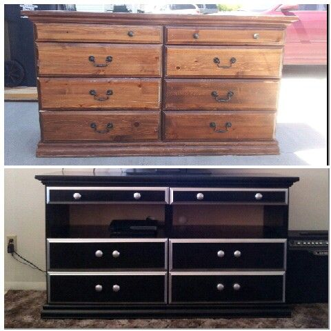 My 20 Dresser I Turned Into A Tv Stand This Was Such An Easy Diy Project All It Took Little Sanding And Paint Why Expensive Or