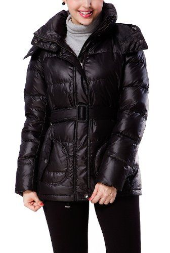 Bgsd Women's Quilted Down Coat With Removable Belt - Black S