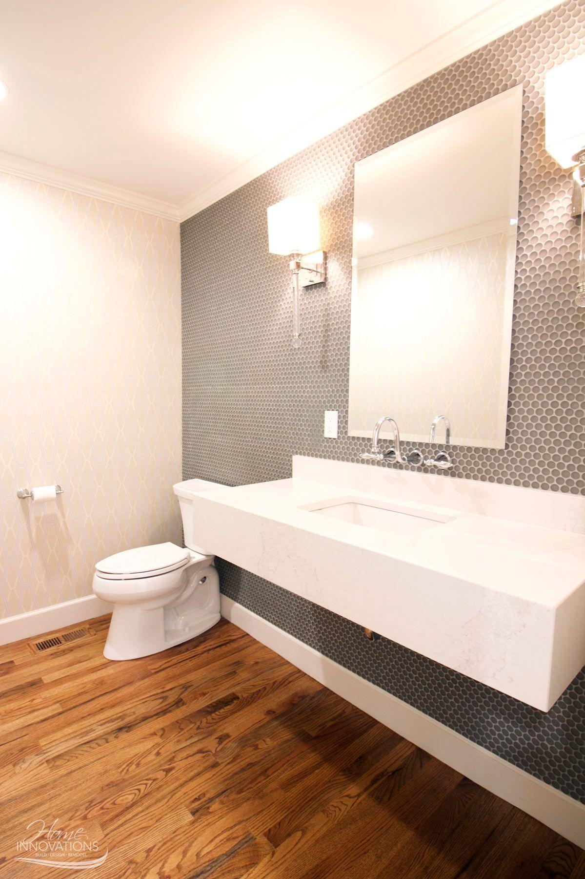 Bathroom remodel - Ann Sacks Penny Tiles in gray moonstone, floating ...