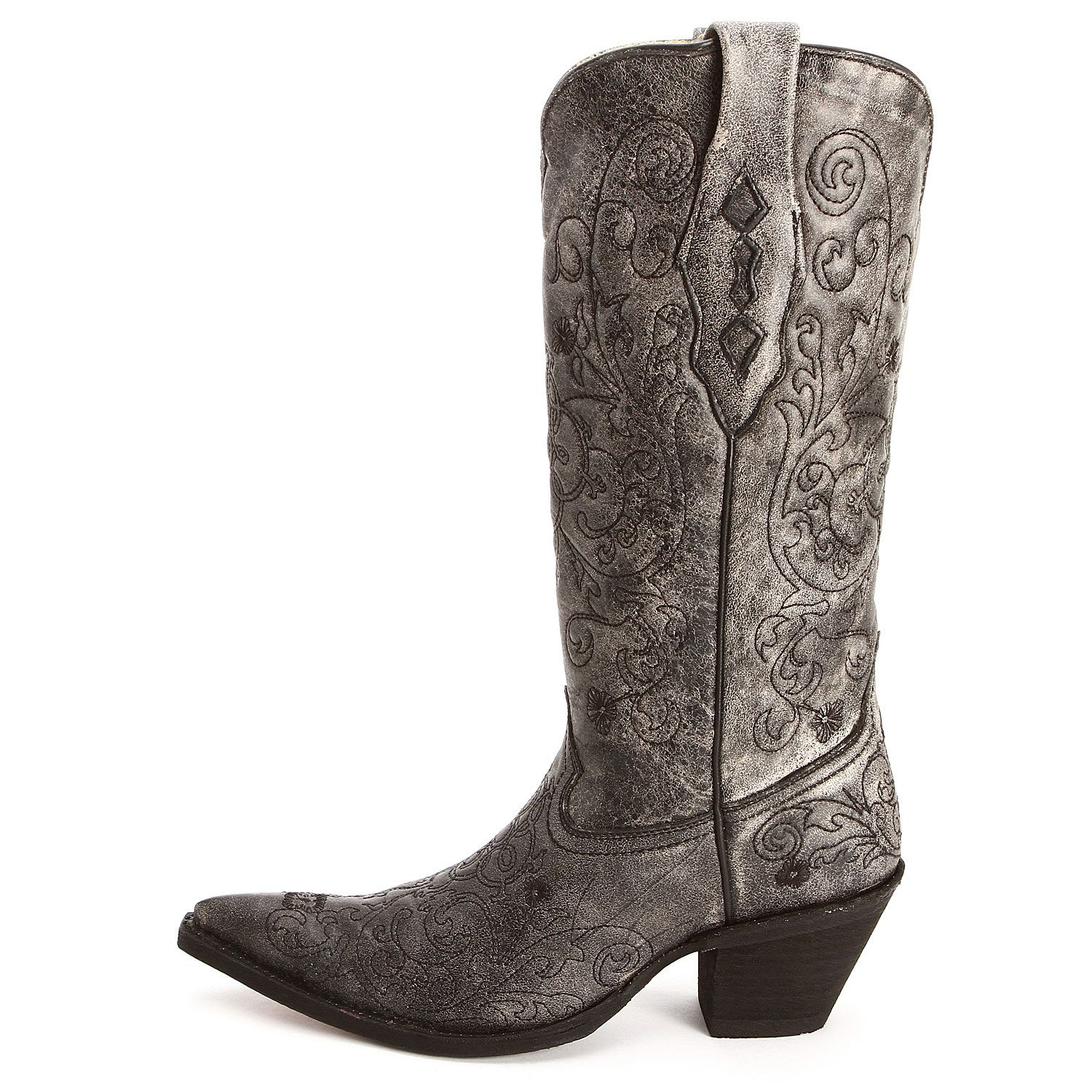 BootDaddy Collection with Corral Black Embroidered Cowgirl Boots