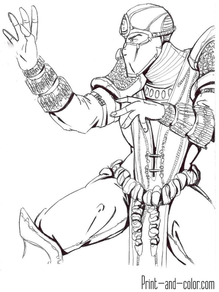 Mortal Kombat coloring page SubZero