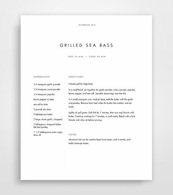 printable recipe book template