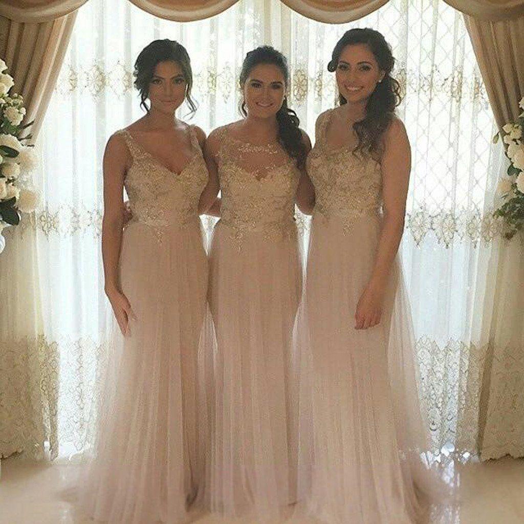 Pretty tulle mismatched applique elegant long wedding bridesmaid