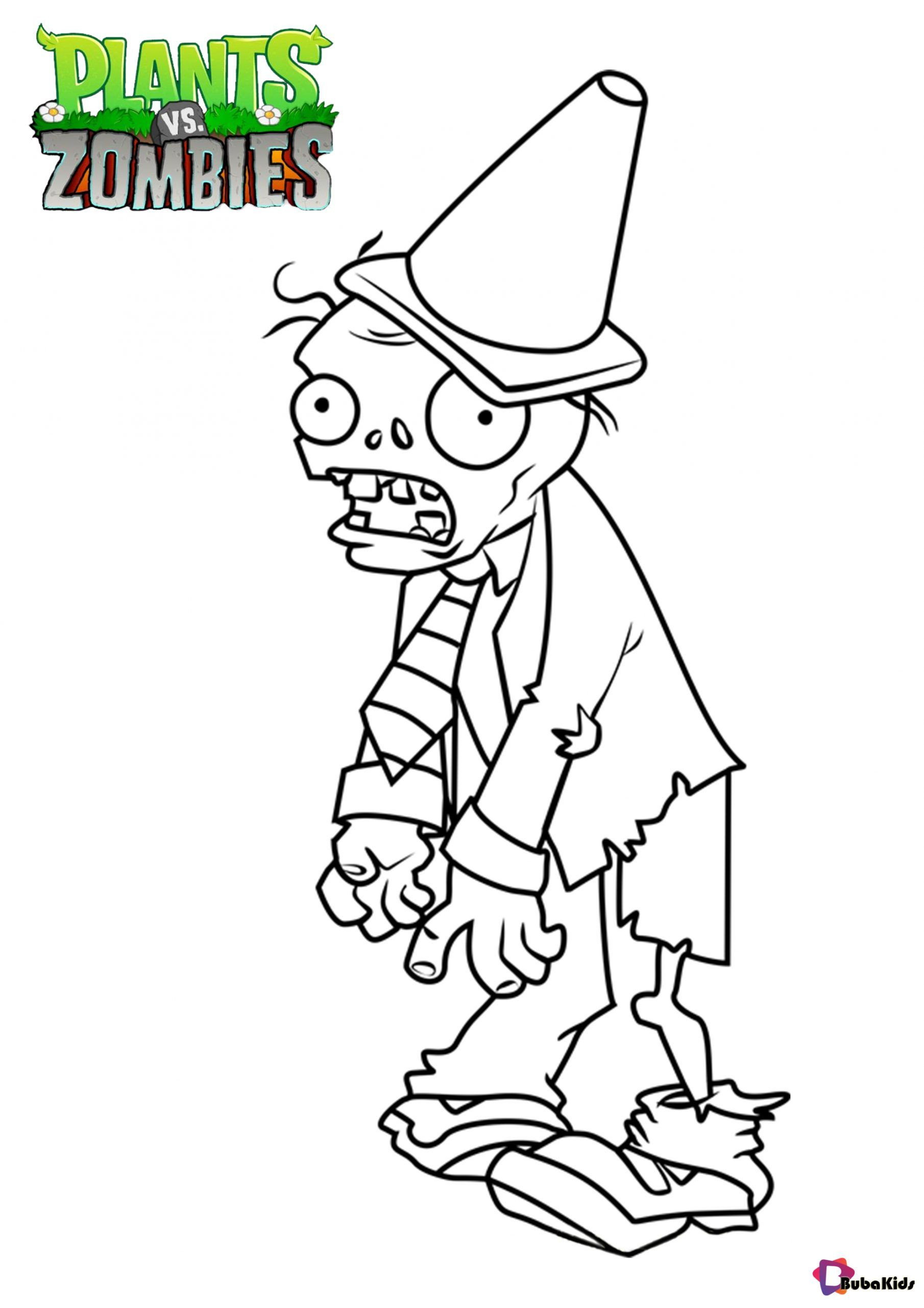 Plants Vs Zombies Conehead Zombie Coloring Page Collection Of Cartoon Coloring Pages For Teenage Print Cartoon Coloring Pages Coloring Pages Plants Vs Zombies