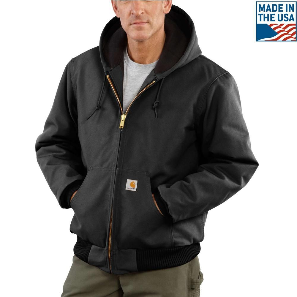 Carhartt Men S 3 Xl Black Cotton Quilted Flannel Lined Duck Active Jacket J140 Blk The Home Depot Carhartt Jacket Active Jacket Carhartt Mens [ 1000 x 1000 Pixel ]