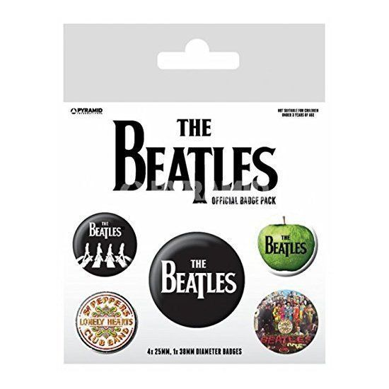 The Beatles Badge Pack (White) Set of 5 Officially Licensed