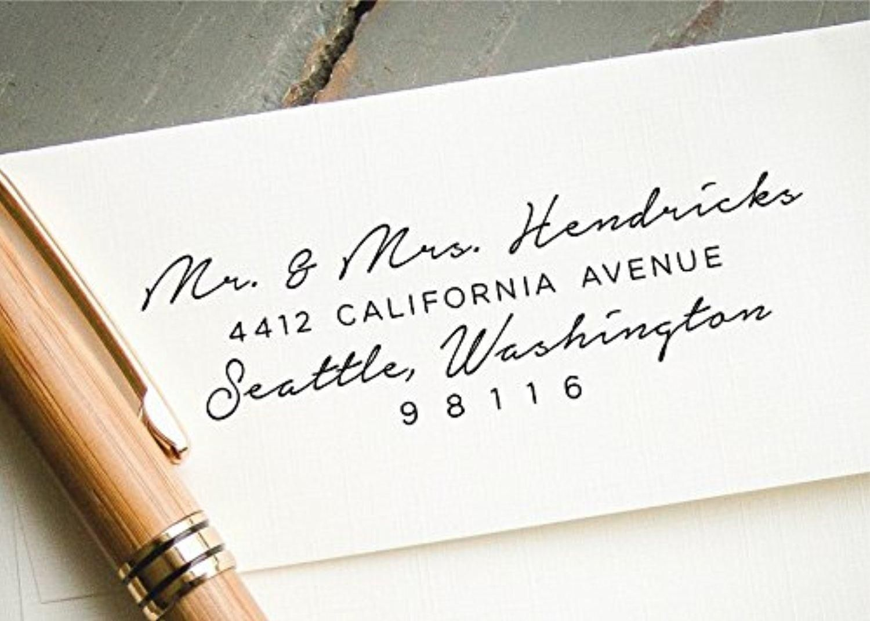 Self-Inking Return Address Stamp, Handwritten Calligraphy Custom ...