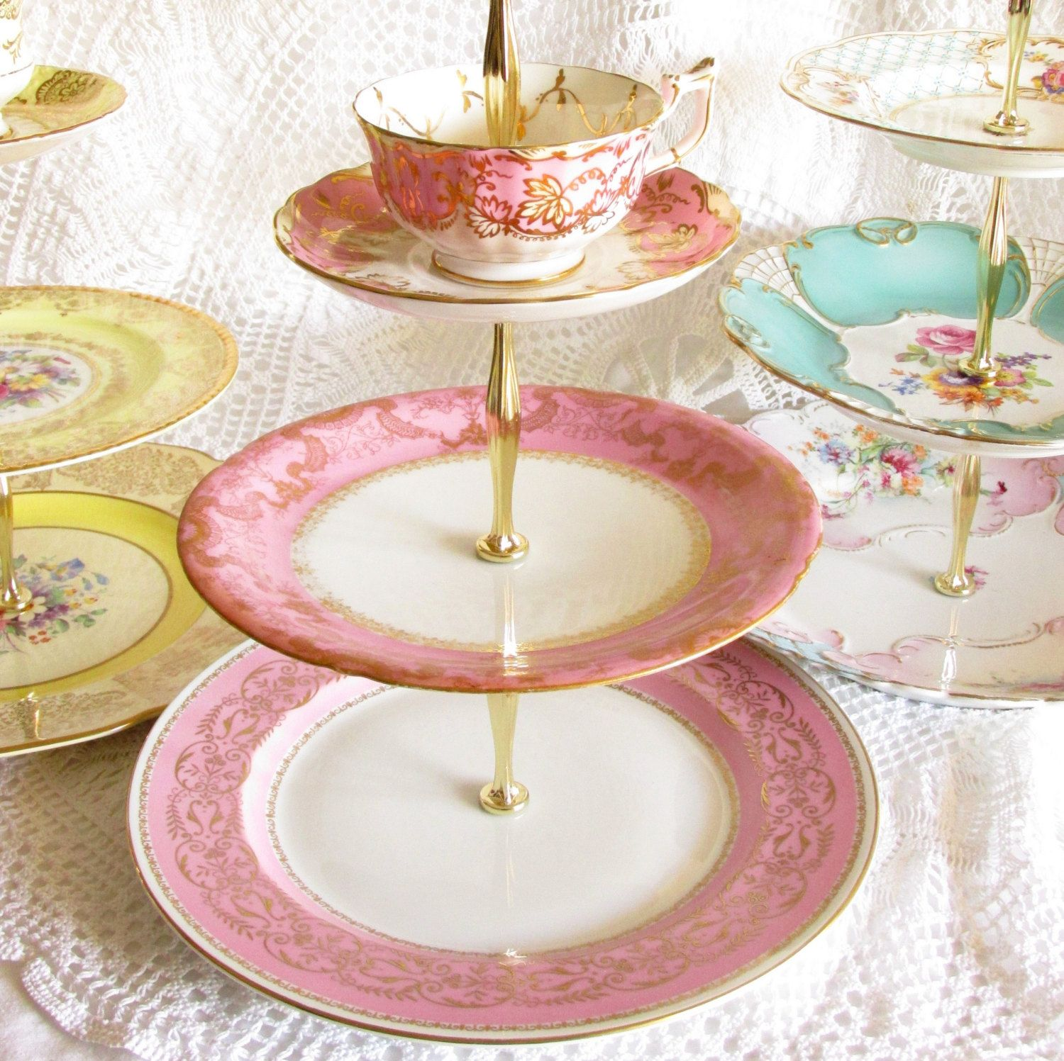 Bright pink gold 3tier cupcake stand vintage china