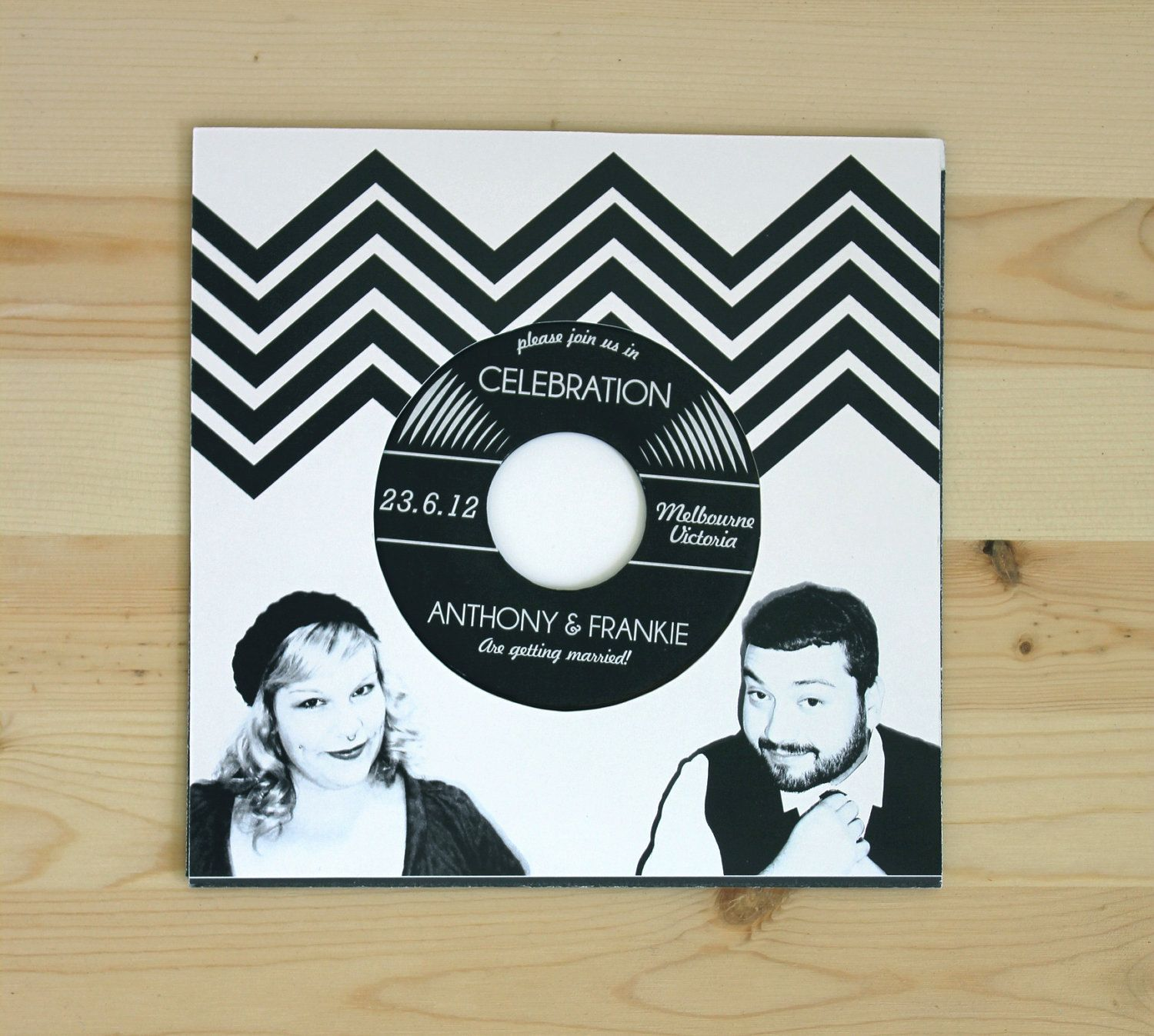 how to make film canister wedding invitations%0A Music Lovers Vinyl Record Wedding Invitation  authentic vinyl record            via Etsy