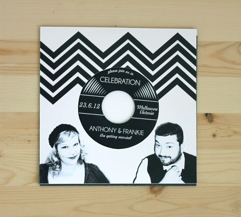 diy cd wedding invitations%0A Music Lovers Vinyl Record Wedding Invitation  authentic vinyl record            via Etsy