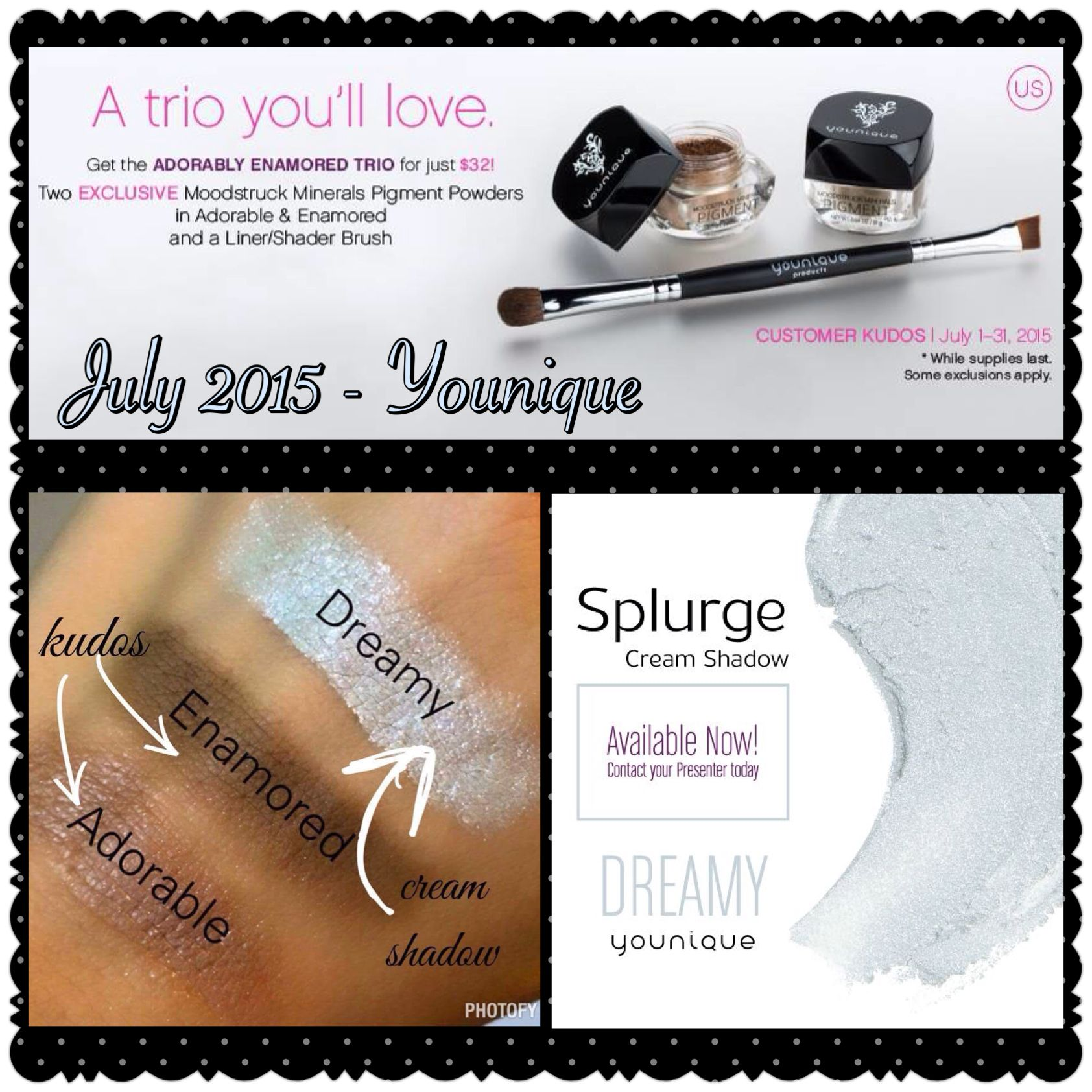 July 2015 Younique Kudos and new Splurge Cream Shadow!!!!!