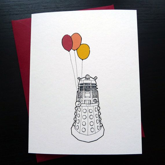 Doctor Who Inspired Dalek Birthday Card Celebrate With Balloons