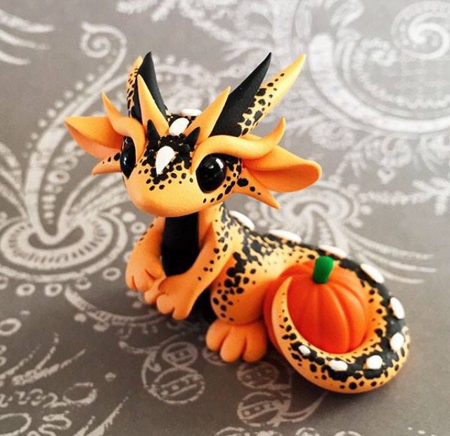 Orange black pumpkin dragon by dragonsandbeasties for Dragon crafts pinterest