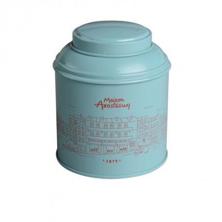 Boîte à thé Maison Arostéguy avec illustration de Biarritz Cette