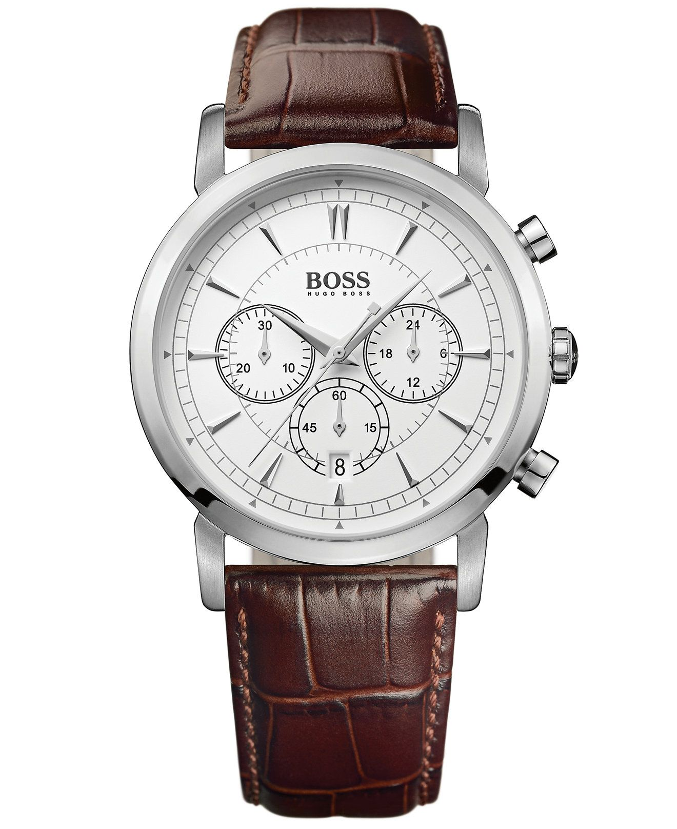 Hugo boss watch men 39 s chronograph brown leather strap 42mm 1512871 men 39 s watches jewelry for Hugo boss watches