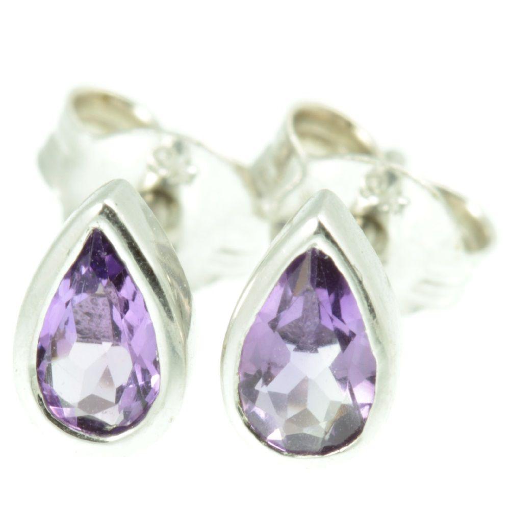 9ct White Gold Amethyst Earrings